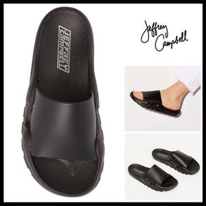 JEFFREY CAMPBELL BLACK SLIP ON SLIDE SANDALS